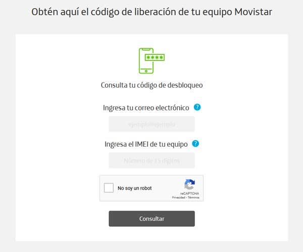 Formulario para desbloquear un celular de Movistar México