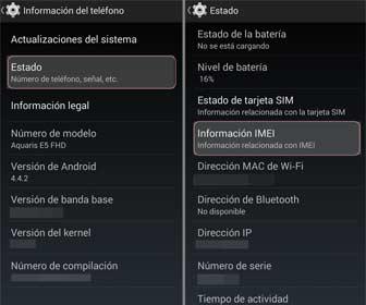Encontrar el IMEI en los ajustes de los móviles Android