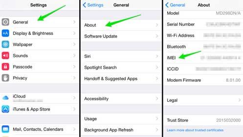 Encontrar el IMEI en los ajustes de los móviles iPhones